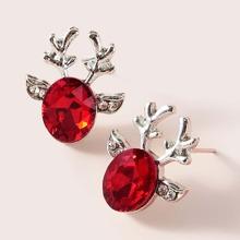 1pair Christmas New Year Gemstone Decor Antlers Shaped Earrings