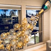 Champagneflasche Ballon 1 Stueck & dekorativer Ballon Set 25 Stuecke