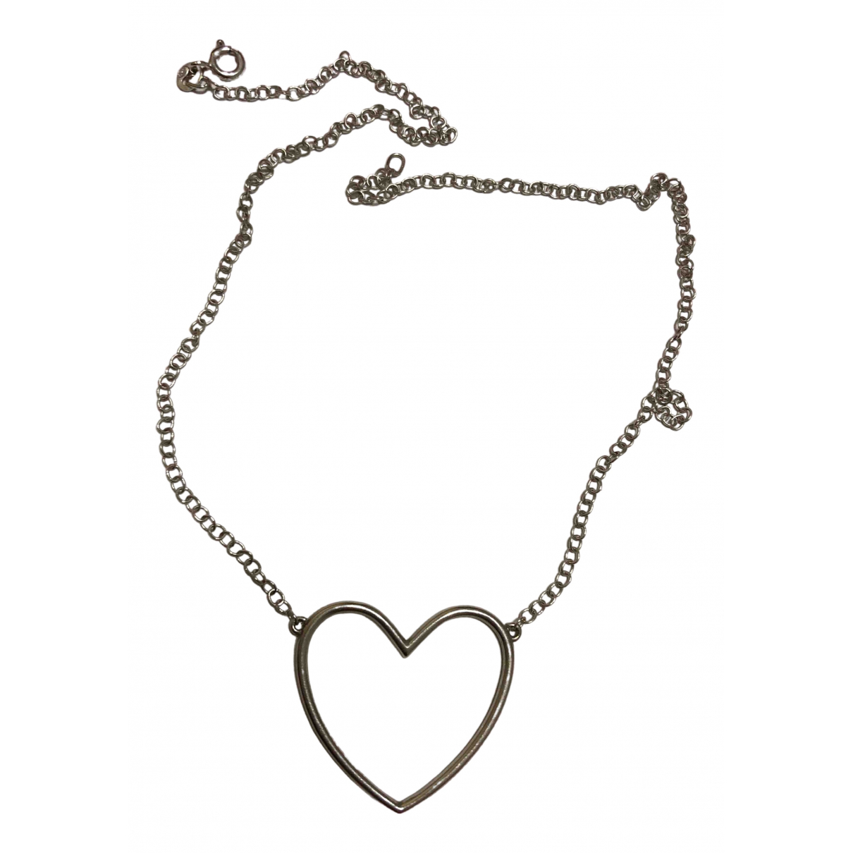 Non Signe / Unsigned Motifs Coeurs Kette in  Silber Silber