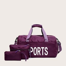 3pcs Letter Graphic Duffle Bag With Clutch Bag