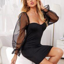Tie Back Sheer Mesh Lantern Sleeve Dress