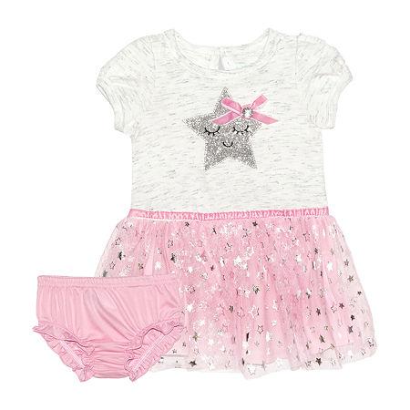 Nannette Baby Girls Short Sleeve A-Line Dress, 3-6 Months , White