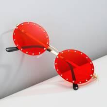 Men Rhinestone Decor Sunglasses