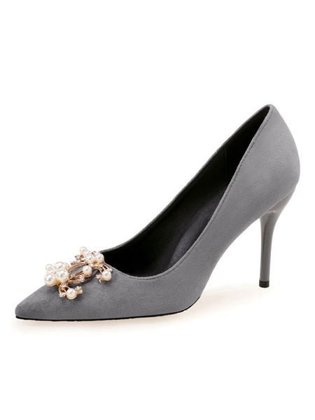 Milanoo Women\s High Heels Slip-On Pointed Toe Stiletto Heel Pearls Chic Low-Tops Pink Shoes