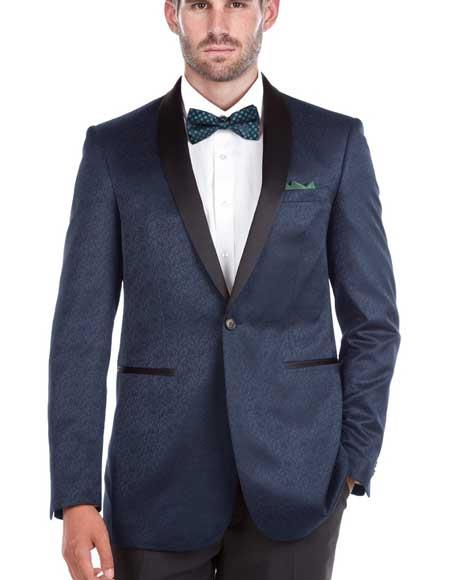 Mens Shawl Collar Blue Textured Double Vent Tuxedo Slim Fit Blazer