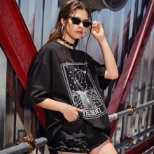 Moon Face Graphic Oversized Tee