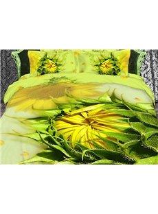 3D Sunflowers Printed Cotton 4-Piece Yellow Bedding Sets/Duvet Cover Sets