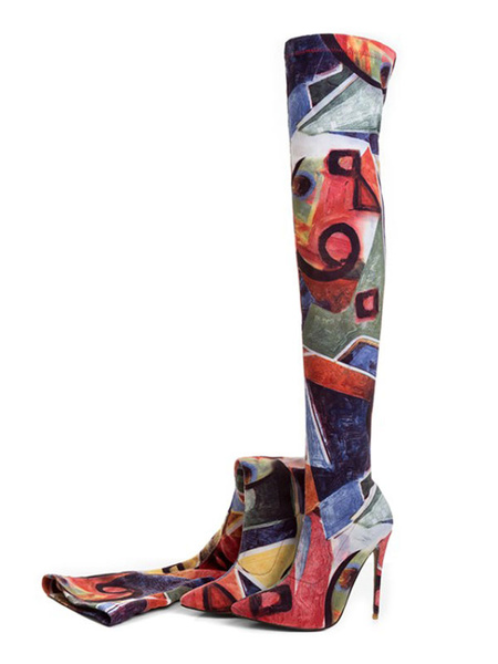 Milanoo Thigh High Boots Womens Printed Elastic Fabric Stretchy Pointed Toe Stiletto Heel Over The Knee Boots