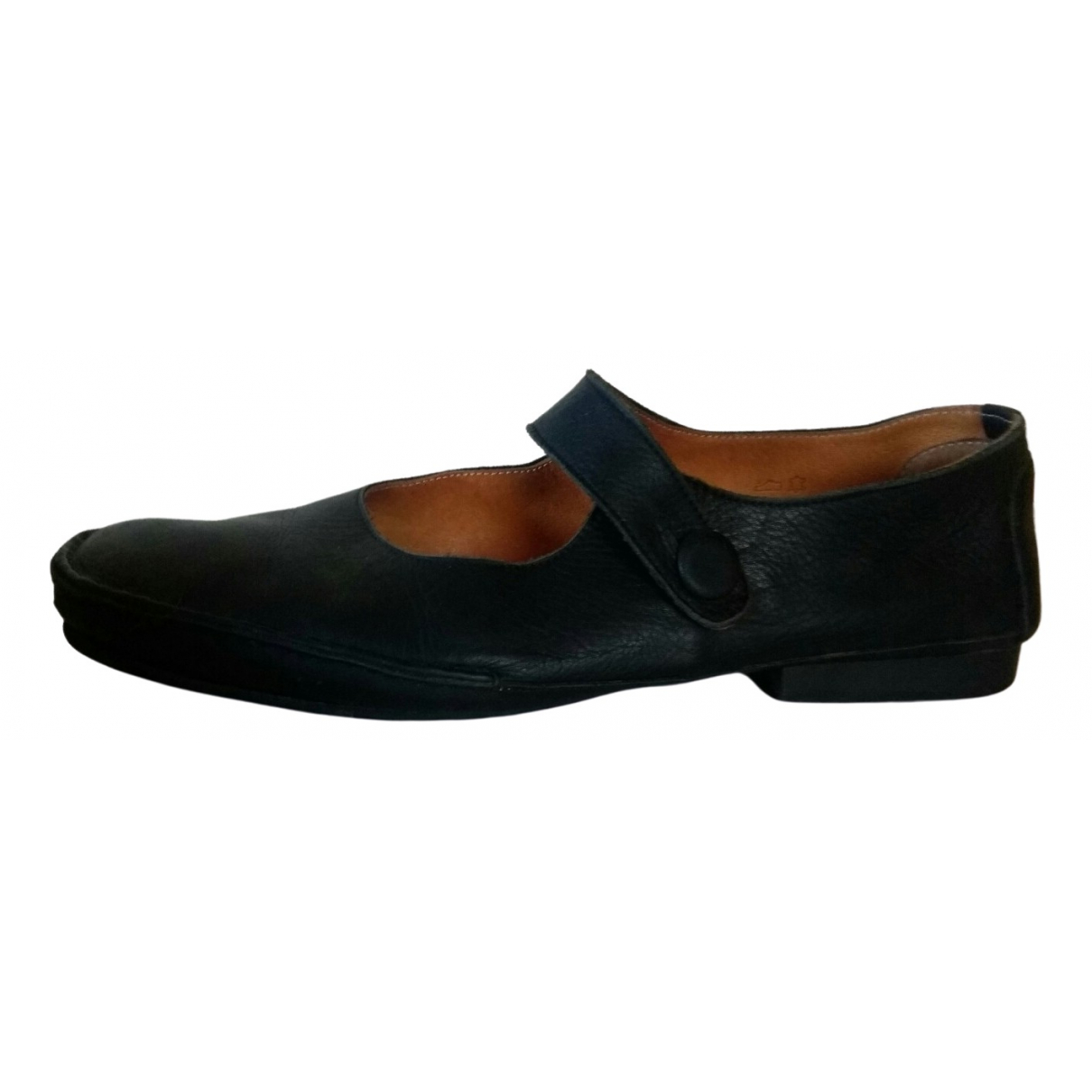 Non Signé / Unsigned \N Black Leather Flats for Women 41 EU