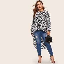 Bluse mit abfallendem Saum und Leopard Muster