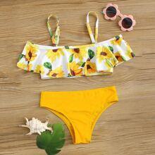 Girls Sunflower Print Flounce Bikini Swimsuit