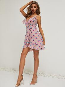 Ruffle Trim Wrap Belted Floral Cami Dress