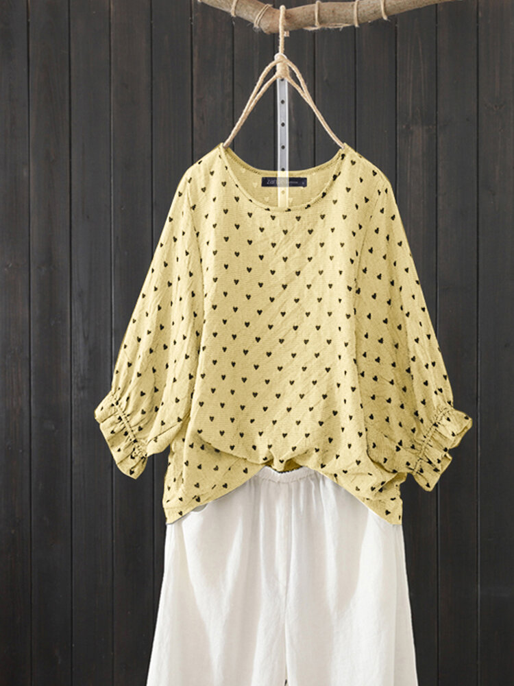 Hearts Print 3/4 Sleeve Plus Size Blouse for Women