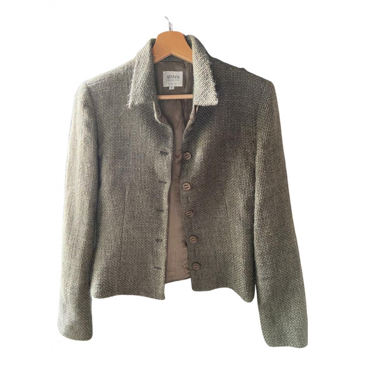 Armani Collezioni \N Jacke in  Gruen Wolle