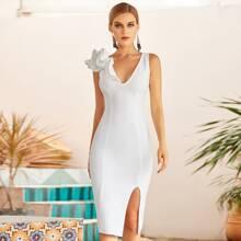 Adyce Figurbetontes Kleid mit Rueschenbesatz und Schlitz