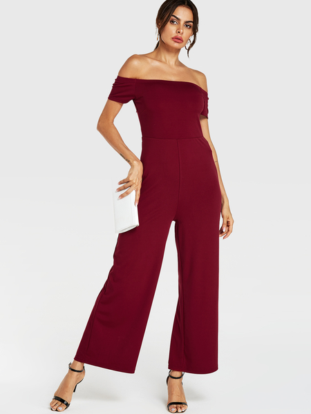YOINS Burgundy Off The Shoulder Wide Leg Jumpsuit