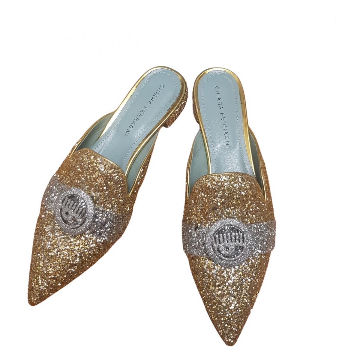 Chiara Ferragni \N Gold Glitter Mules & Clogs for Women 38 EU