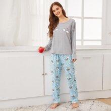 Conjunto de pijama de rayas de arcoiris