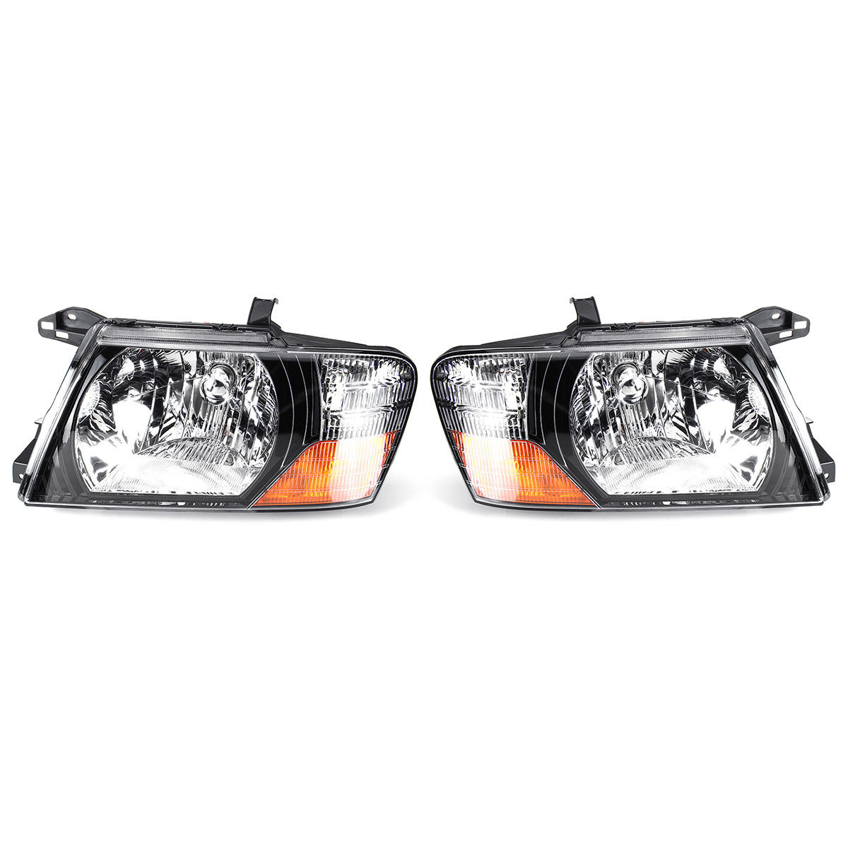 Car Front Headlight Head Lamp Assembly Glass Lens Cover Pair for Mitsubishi Pajero Montero 2000-2006