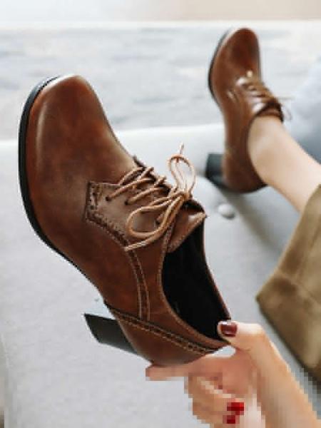 Milanoo Zapatos Oxford de tacon cuadrado con cordones y punta redonda para mujer marron