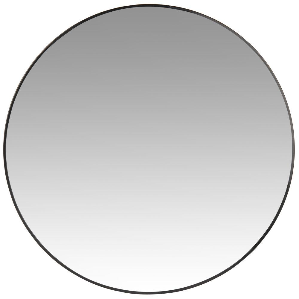 Runder Spiegel mit schwarzem Metallrahmen D45