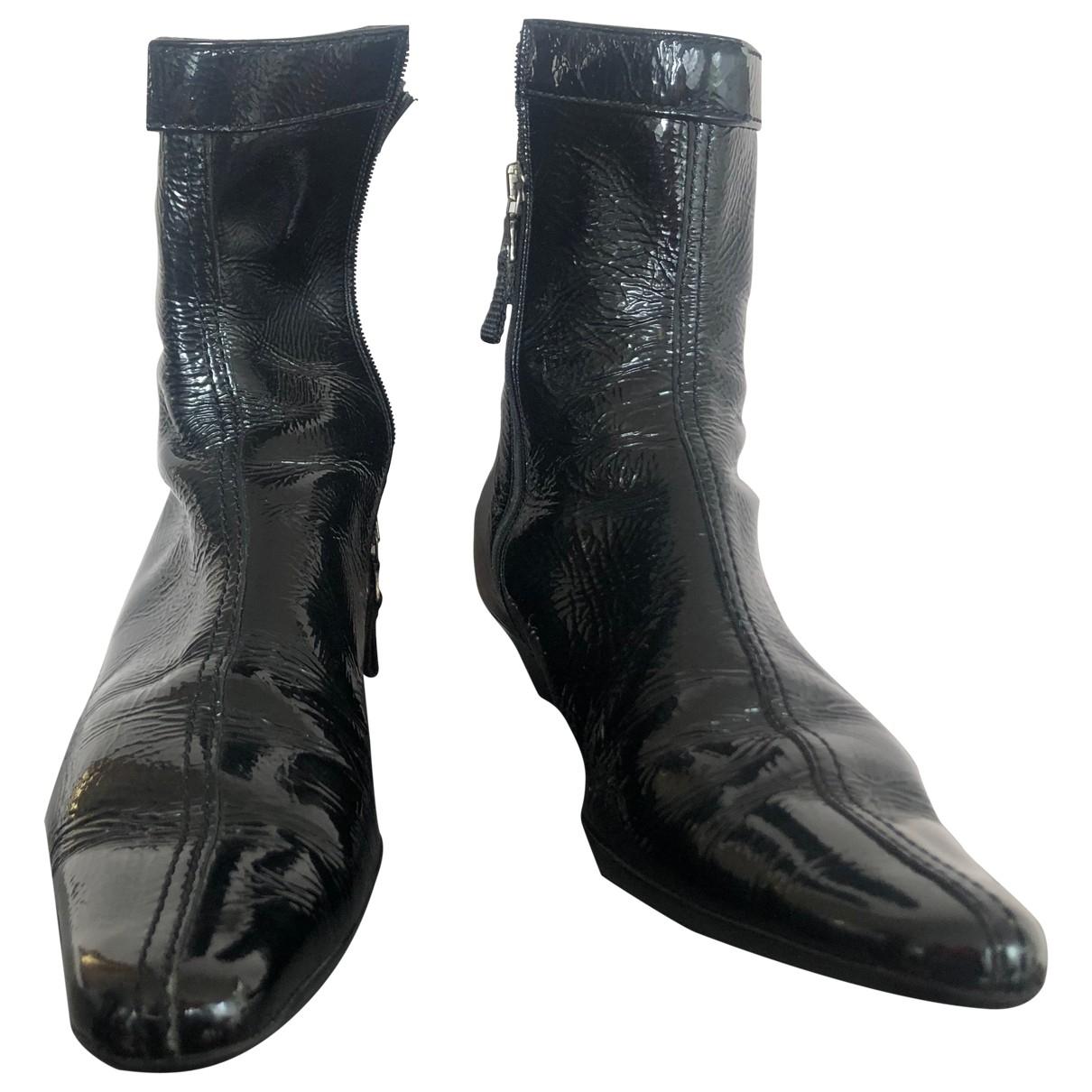 Prada - Boots   pour femme en cuir verni - noir