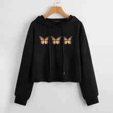 Kapuze mit Schmetterling Muster und sehr tief angesetzter Schulterpartie