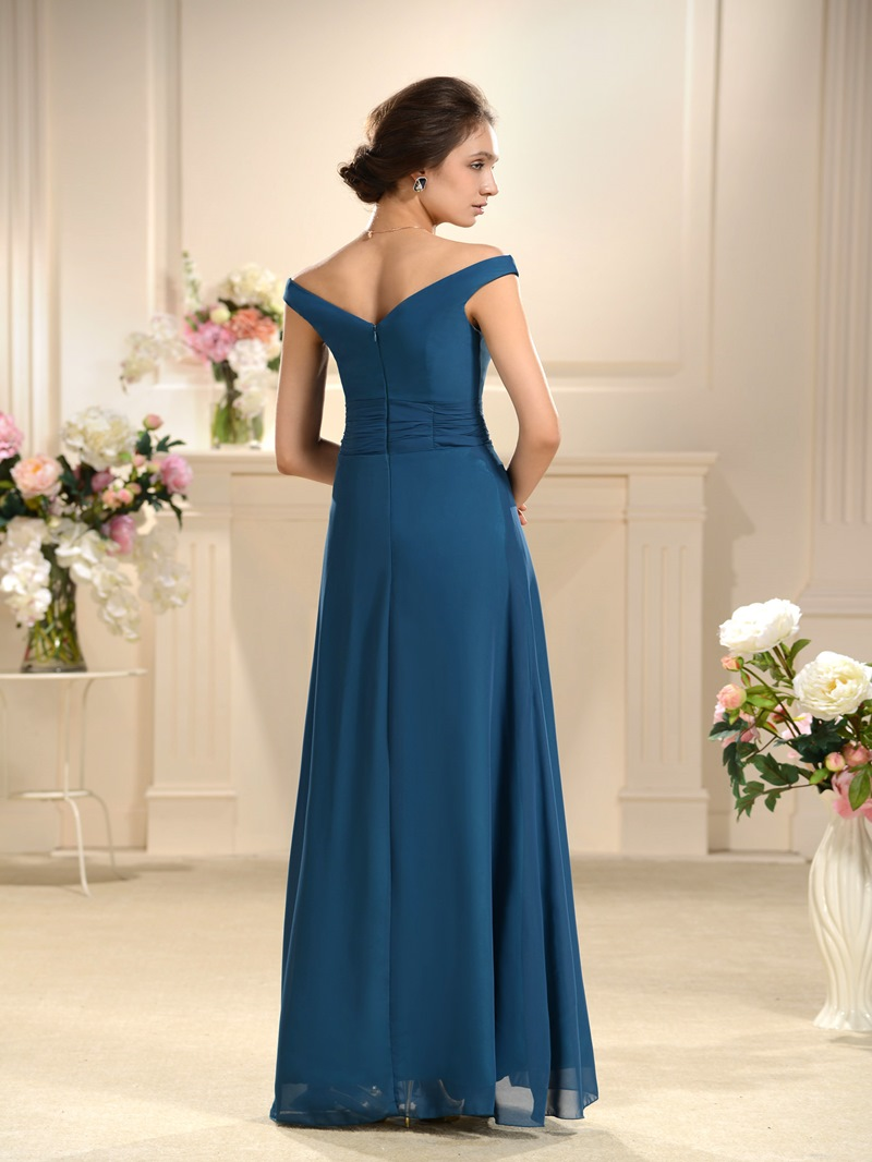 Special A-line Floor Length Off-the-Shoulder Bridesmaids Dress