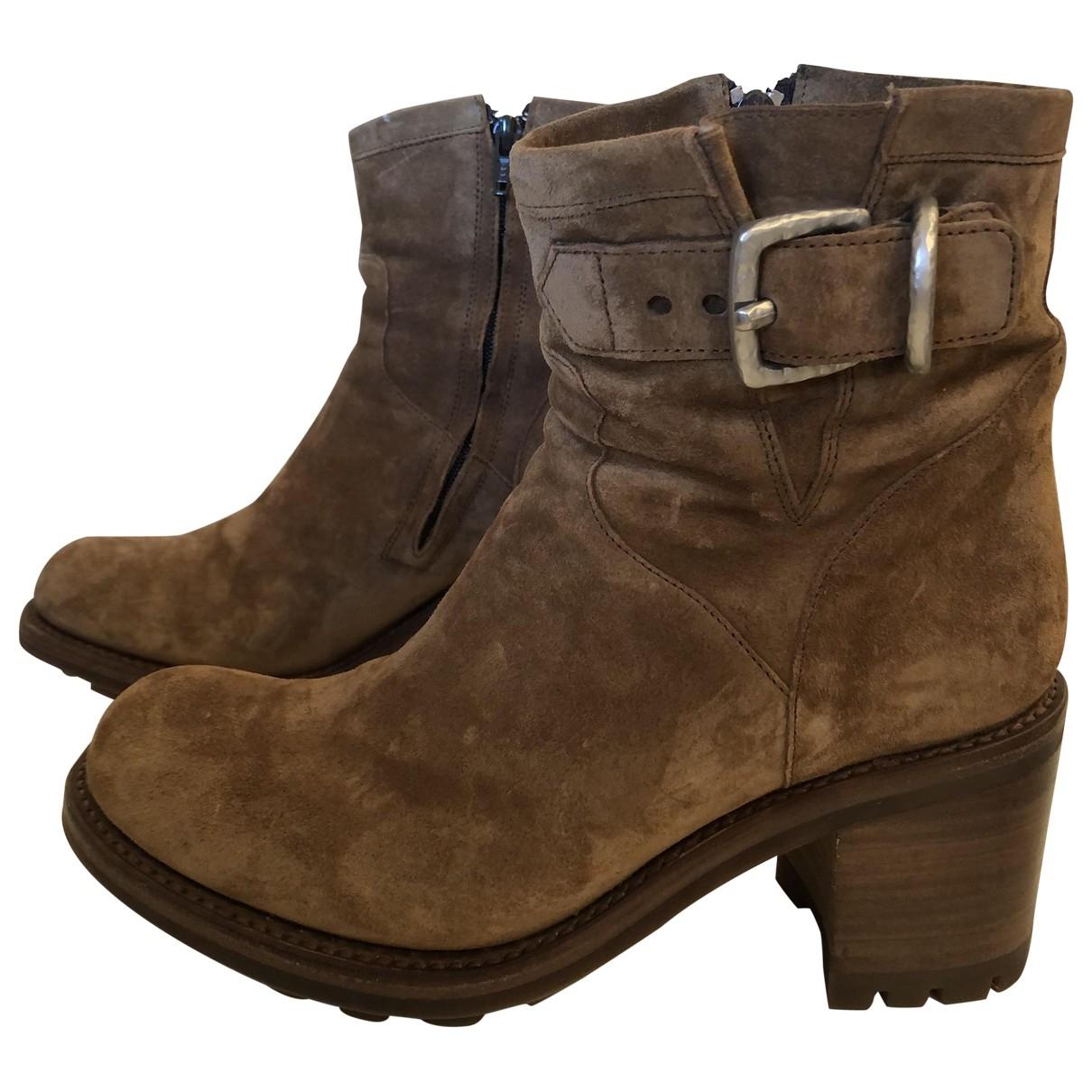Free Lance - Boots   pour femme en cuir - camel