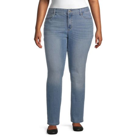 St. John's Bay Womens Mid Rise Stretch Straight Leg Jean, 22w Short , Blue