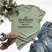Ubergrosses T-Shirt mit Buchstaben Grafik und rundem Ausschnitt