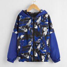 Toddler Boys Geo Print Zip Up Hooded Windbreaker Jacket