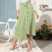 Button Front Asymmetrical Hem Skirt