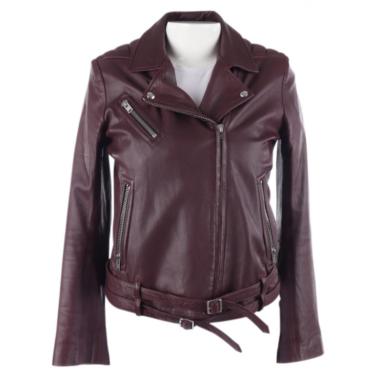 Iro \N Burgundy Leather jacket for Women 38 FR