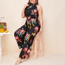Mono palazzo halter con cinturon con estampado floral - grande
