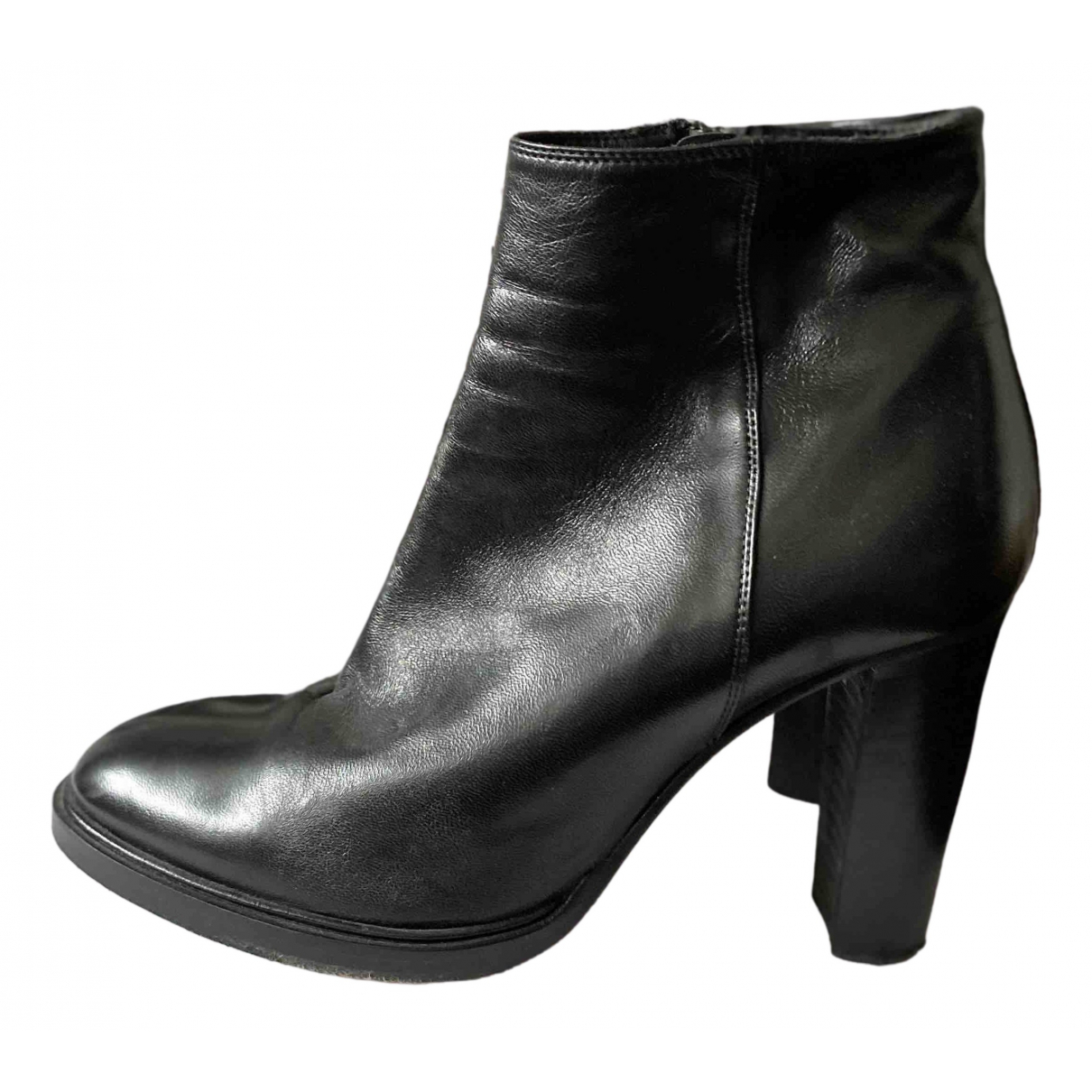 Prego N Black Leather Ankle boots for Women 39 EU