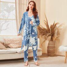 3 Stuecke Cami Pajama Set mit Blumen Muster & Robe mit Guertel