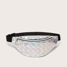 Holographic Zipper Front Fanny Pack