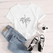 Camiseta de manga corta con estampado de mapa