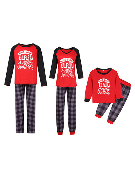 Milanoo Matching Family Christmas Pajamas Cotton Blend Plaid Christmas Pattern Red Top Plaid Pants Set