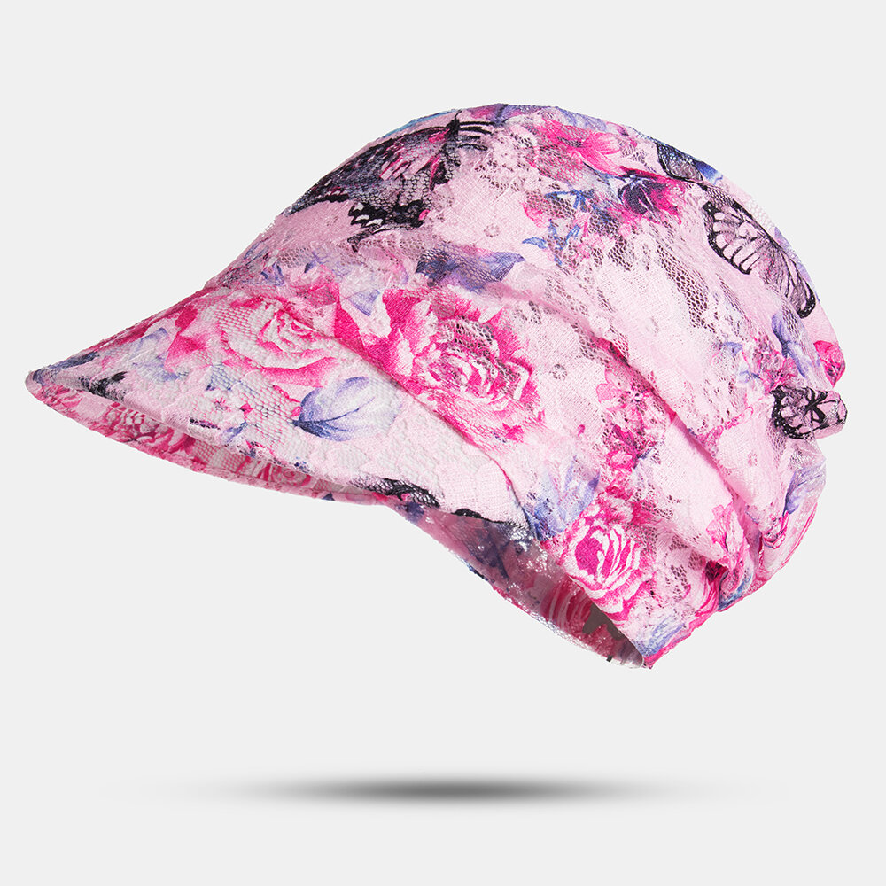 Print Summer UV Protection Sunscreen Hat Outdoor Cover Face Beach Cycling Breathable Empty Top Hats