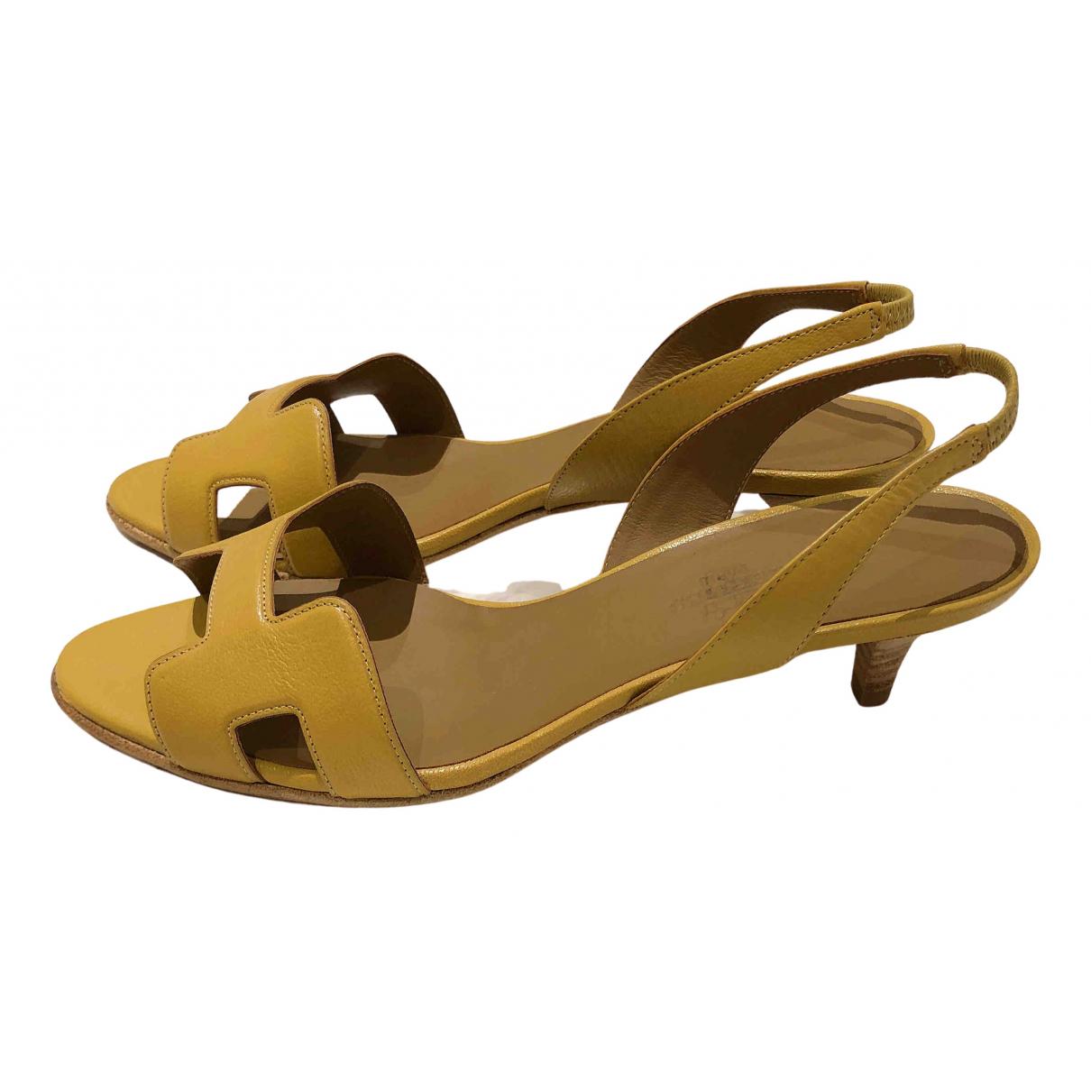 Hermès Night Yellow Leather Sandals for Women 37.5 EU