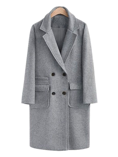 Milanoo Abrigos para las mujeres cuello de cobertura Escudo de manga larga guisante
