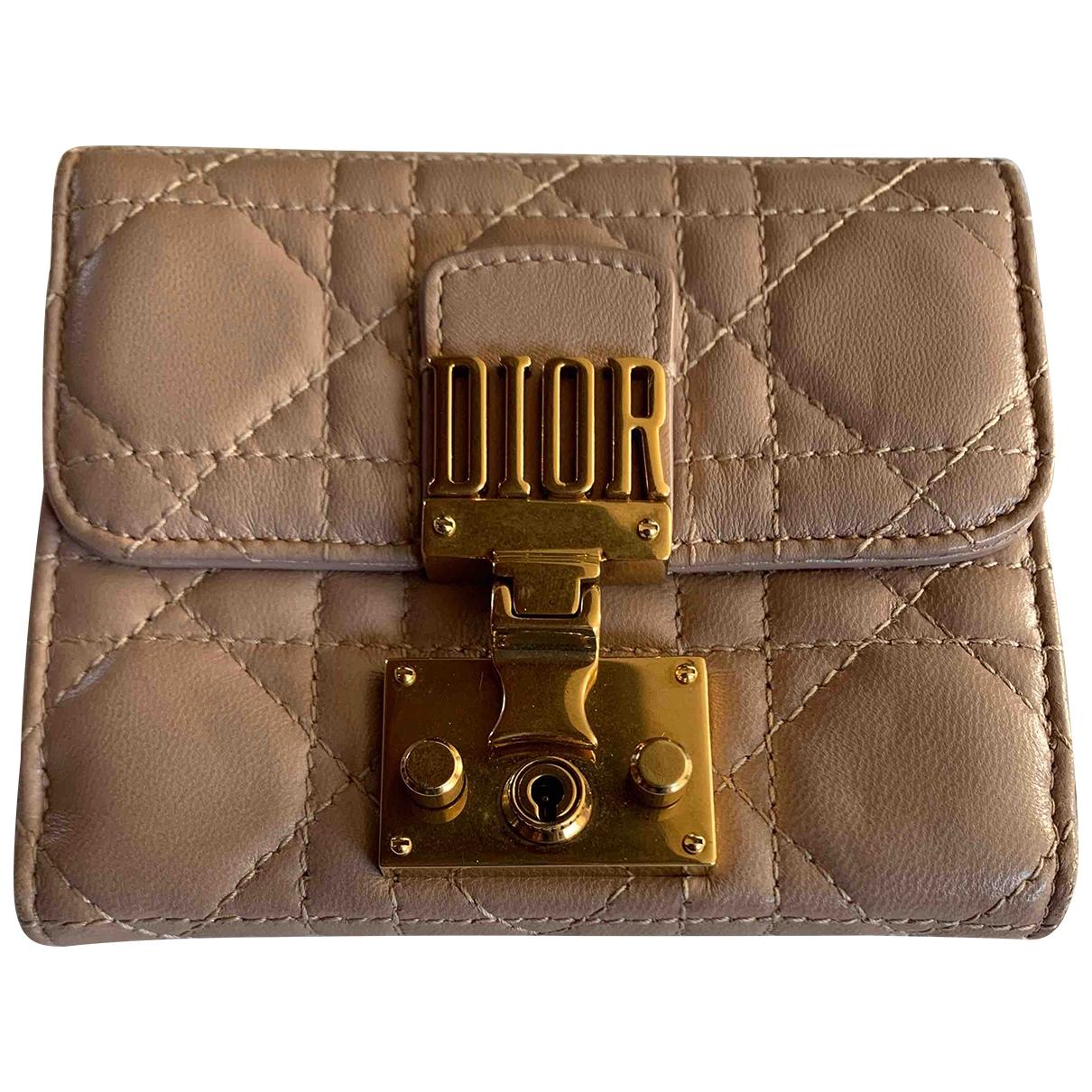 Dior DiorAddict Beige Leather wallet for Women \N