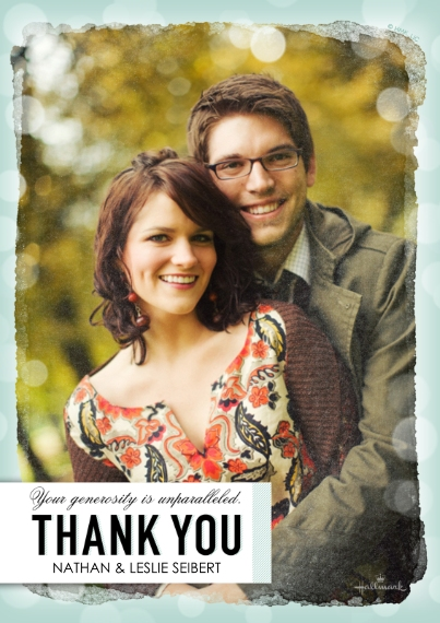 Thank You Cards 5x7 Cards, Premium Cardstock 120lb with Rounded Corners, Card & Stationery -Bokeh Border Thank You