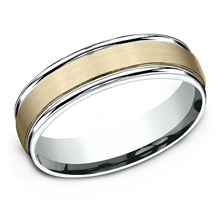 6MM 10K Two Tone Gold Wedding Band, 10 1/2 , No Color Family