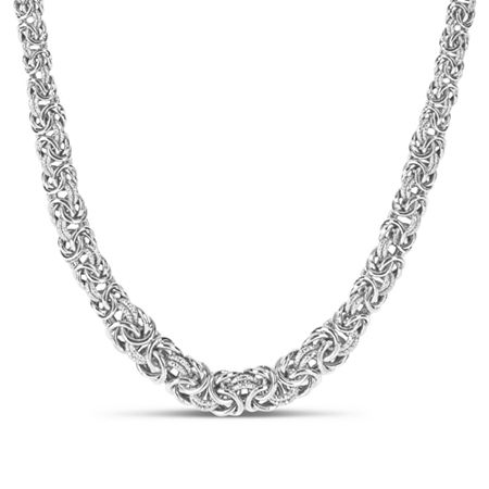 Made in Italy Sterling Silver 18 Inch Hollow Byzantine Chain Necklace, One Size , No Color Family