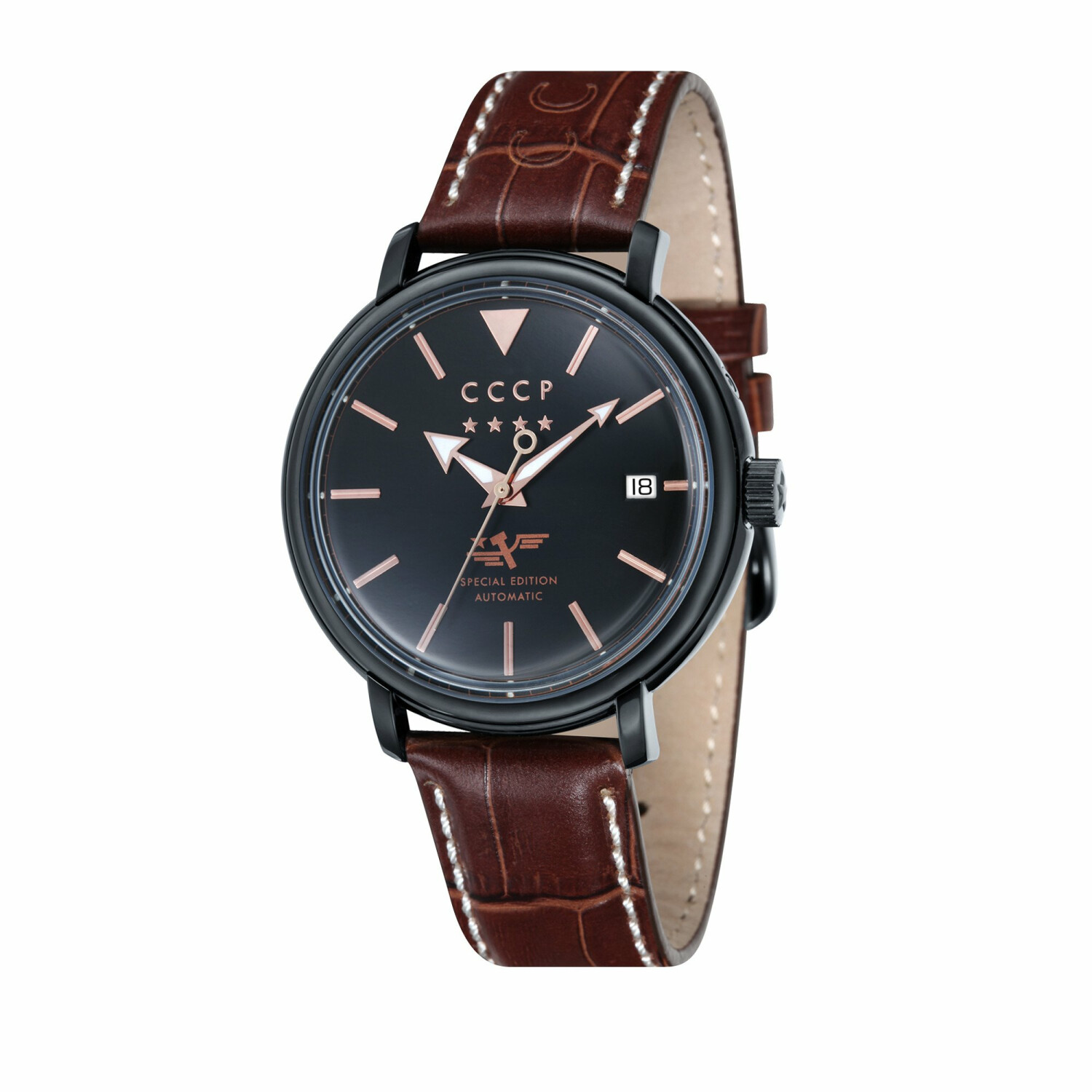 Cccp Men's Heritage CP-7020-05 Brown Alligator Leather Automatic Self Wind Fashion Watch