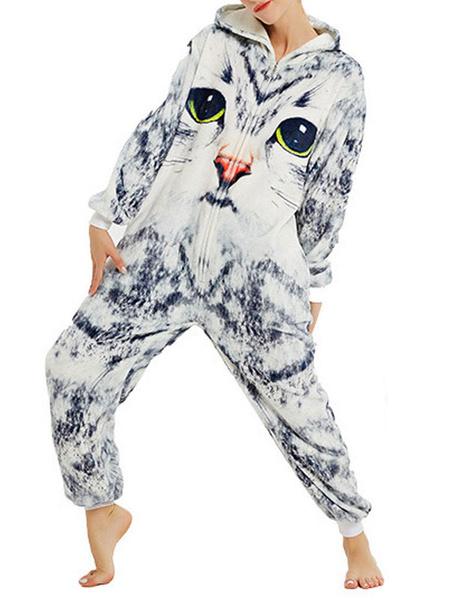 Milanoo Disfraz Halloween Kigurumi Onesie Pijamas 3D Gatos Mono de franela gris claro Easy Toilet Jumpsuit Kigurumi Disfraces Carnaval Halloween