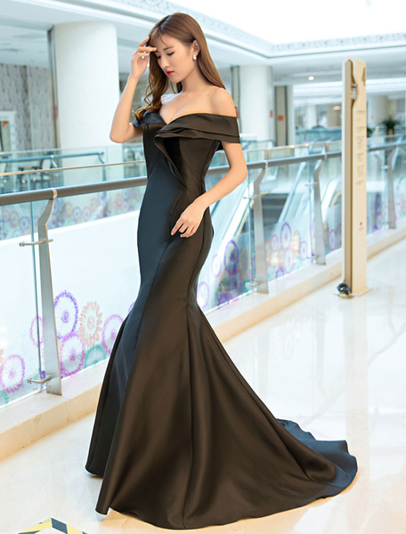 Milanoo Evening Dresses Satin Royal Blue Evening Gown Off The Shoulder Mermaid Formal Dress With Train